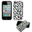 Insten® Fusion Rubberized Faceplate Case F/iPhone 4/4/4SG, Colorful Leopard