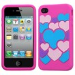 Insten® Pastel Skin Case F/iPhone 4/4S, Colorful Love/Hot-Pink