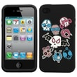 Insten® Pastel Skin Case F/iPhone 4/4S, Colorful Skulls/Black
