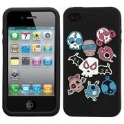 Insten® Pastel Skin Case F/iPhone 4/4S, Colorful Skulls/Black