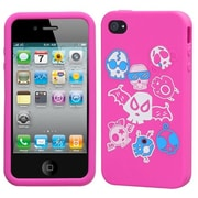 Insten® Pastel Skin Case F/iPhone 4/4S, Colorful Skulls/Hot-Pink