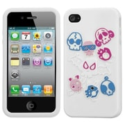 Insten® Pastel Skin Case F/iPhone 4/4S, Colorful Skulls/White