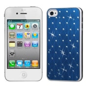 Insten® Studded Back Plate Cover W/White Sides F/iPhone 4/4S, Dark Blue