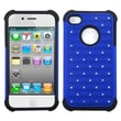 Insten® Luxurious Lattice Dazzling Protector Cover For iPhone 4, Hybrid Dark Blue/Black