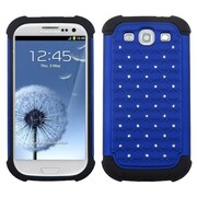 Insten® Luxurious Lattice Dazzling Protector Cover For Samsung Galaxy SIII, Dark Blue/Black