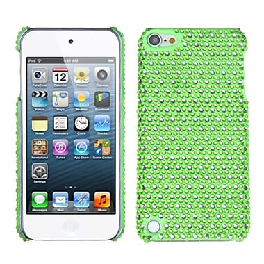 Insten® Diamante Dots Phone Back Protector Cover For iPod Touch 5th Gen, Green/White