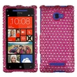 Insten® Diamante Protector Case For HTC Windows Phone 8X, Hot-Pink/White Dots