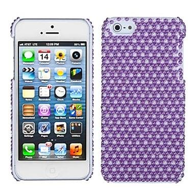 Insten® Pearl Diamante Back Protector Cover F/iPhone 5/5S, Purple/White Dots