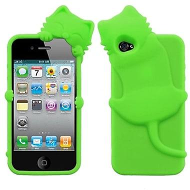 Insten® Cat Peeking Pets Skin Cover F/iPhone 4/4S, Electric Green