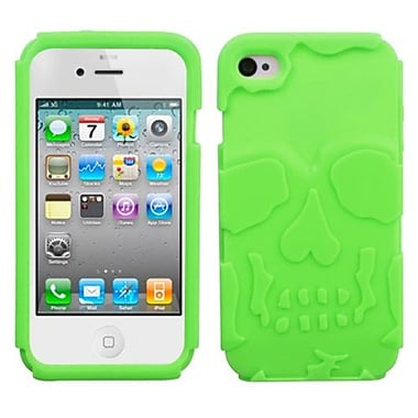 Insten® Skullcap Base Hybrid Protector Cover F/iPhone 4/4S, Electric Green