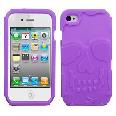 Insten® Skullcap Base Hybrid Protector Cover F/iPhone 4/4S, Electric Purple