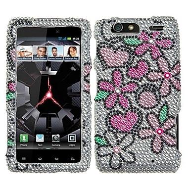 Insten® Diamante Protector Cover For Motorola XT912M Droid RAZR Maxx, Fantastic Flowers