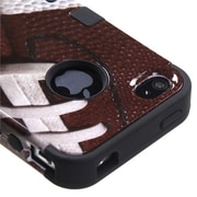 Insten® TUFF Hybrid Phone Protector Cover F/iPhone 4/4S, Football/Black