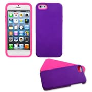 Insten® Fusion Rubberized Protector Cover W/Quarter Stand F/iPhone 5/5S, Grape/Electric Pink