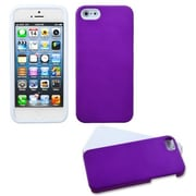 Insten® Fusion Rubberized Protector Cover W/Quarter Stand F/iPhone 5/5S, Grape/Solid White