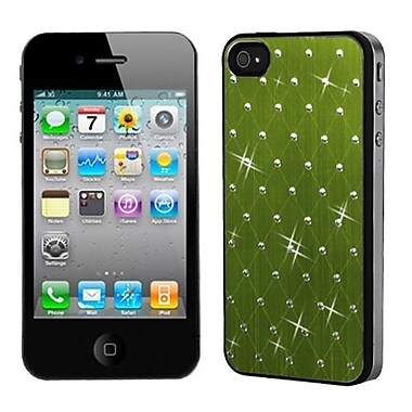 Insten® Studded Back Plate Cover W/Black Sides F/iPhone 4/4S, Green