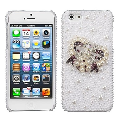 Insten® Pearl 3D Diamante Back Protector Cover F/iPhone 5/5S, Heart Bow