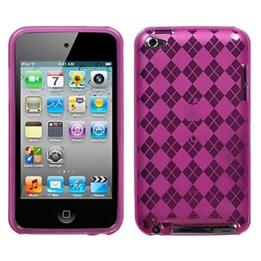 Insten® Argyle Checker Flexi Gel Skin Cover For iPod Touch 4th Gen, Hot-Pink