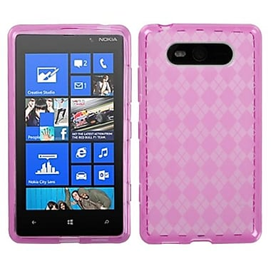 Insten® Argyle Candy Skin Cover For Nokia 820, Hot-Pink