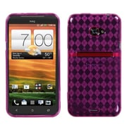 Insten® Argyle Candy Skin Case For HTC EVO 4G LTE, Hot-Pink Pane
