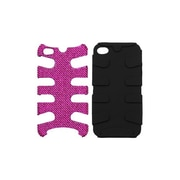Insten® Diamante/Fishbone Phone Protector Cover F/iPhone 4/4S, Black/Pink