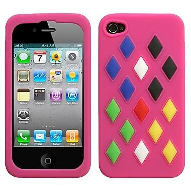 Insten® Skin Cover F/iPhone 4/4S, Hot-Pink Module