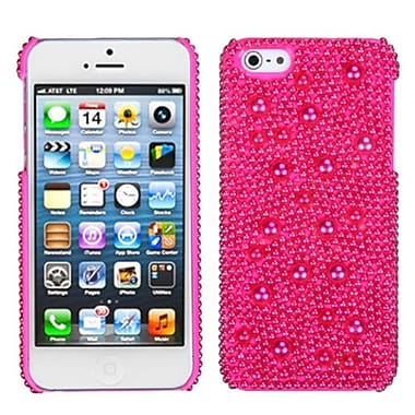 Insten® Pearl Diamante Back Protector Cover F/iPhone 5/5S, Hot-Pink