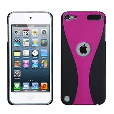 Insten® Wave Phone Back Rubberized Protector Cover For iPod Touch 5th Gen, Hot-Pink/Black