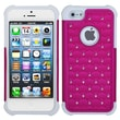Insten® Luxurious Lattice Dazzling TotalDefense Protector Cover F/iPhone 5/5S, Hot-Pink/Solid White