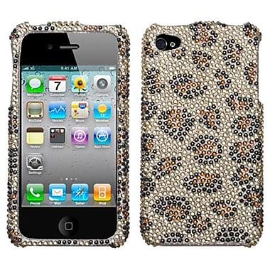 Insten® Diamante Protector Cover F/iPhone 4/4S, Leopard Skin/Camel