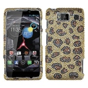 Insten® Diamante Protector Case For Motorola XT926W Droid RAZR HD, Leopard/Camel