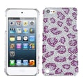 Insten® Diamante Back Protector Cover For iPod Touch 5th Gen, Leopard Skin/Purple