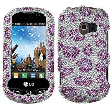 Insten® Diamante Faceplate Case For LG VN271 Extravert, Leopard/Purple