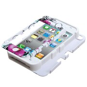 Insten® TUFF Hybrid Phone Protector Cover F/iPhone 4/4S, Morning Petunias/Solid White