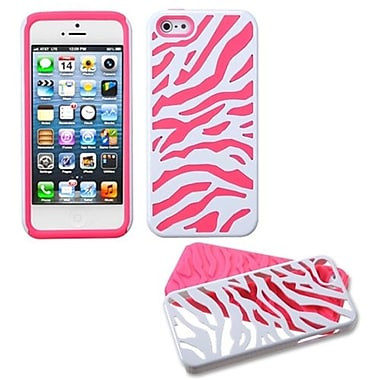 Insten® Fusion Protector Cover F/iPhone 5/5S, Natural Ivory White Zebra Skin/Electric Pink