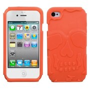 Insten® Skullcap Base Hybrid Protector Cover F/iPhone 4/4S, Orange