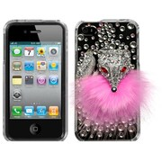 Insten® Crystal Premium 3D Diamante Protector Cover F/iPhone 4/4S, Pink Fox