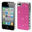 Insten® Luxurious Lattice Alloy Elite Dazzling Protector Cover For iPhone 4/4S, Pink Silver Plating