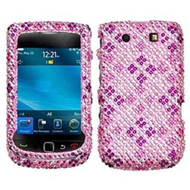 Insten® Diamante Protector Case For BlackBerry 9810 (Torch 4G)/9800, Plaid Hot-Pink/Purple