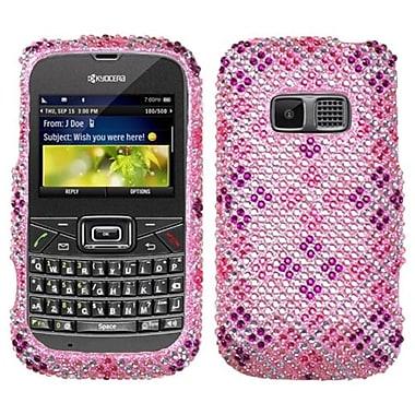 Insten® Diamante Protector Cover For Kyocera S3015 Brio, Plaid Hot-Pink/Purple
