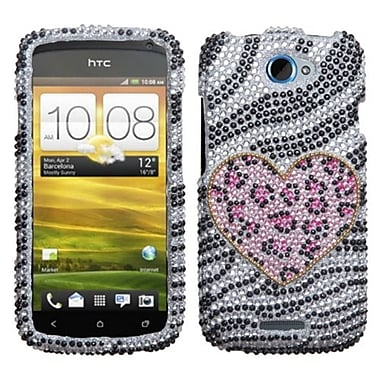 Insten® Diamante Protector Case For HTC-One S, Playful Leopard