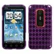 Insten® Argyle Candy Skin Cover For HTC EVO 3D/EVO V 4G, Purple Pane
