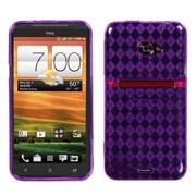 Insten® Argyle Candy Skin Cover For HTC EVO 4G LTE, Purple Pane