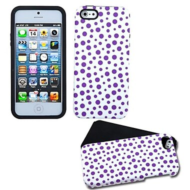 Insten® Fusion Protector Cover F/iPhone 5/5S, Purple Mixed Polka Dot