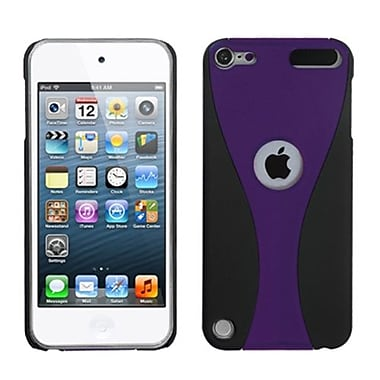 Insten® Wave Phone Back Rubberized Protector Cover For iPod Touch 5th Gen, Purple/Black