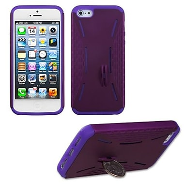 Insten® Fusion Rubberized Protector Cover W/Quarter Stand F/iPhone 5/5S, Purple/Electric Purple