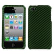 Insten® Phone Protector Cover F/iPhone 4/4S, Racing Fiber/Dr Green (2D Silver)