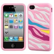 Insten® Pastel Skin Case F/iPhone 4/4S, Rainbow Zebra/Pink