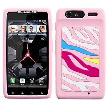 Insten® Skin Cover For Motorola XT912 Droid RAZR, Rainbow Zebra/Pink Pastel