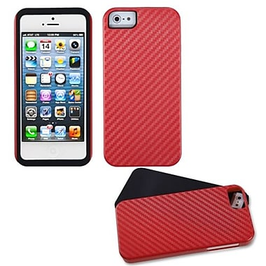 Insten® Crosshatch Fusion Protector Cover F/iPhone 5/5S, Red